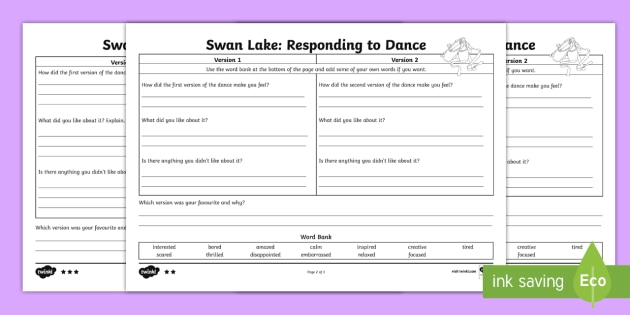 Swan Lake   Responding to Dance activity 2 Differentiated Activity Sheets - dance, ballet, Tchaikovsky, Darcey Bussell, Matthew Bourne, feedback, 2 stars and a wish, swan lake,