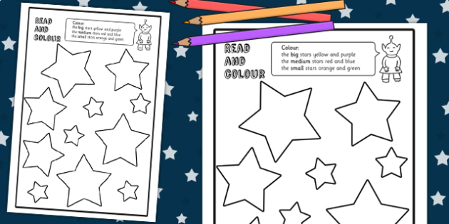 Stars Read and Colour Worksheets - space, planets, star, activity