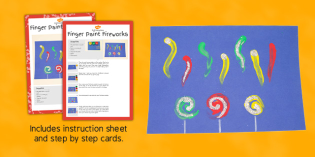 Finger Paint Fireworks Craft Instructions - instructions, finger paint, firewords, craft