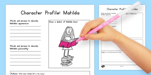 Character Profile Worksheet to Support Teaching on Matilda - australia, matilda, character