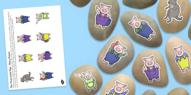 The Three Little Pigs Story Stone Image Cut Outs - story stone, image, cut outs