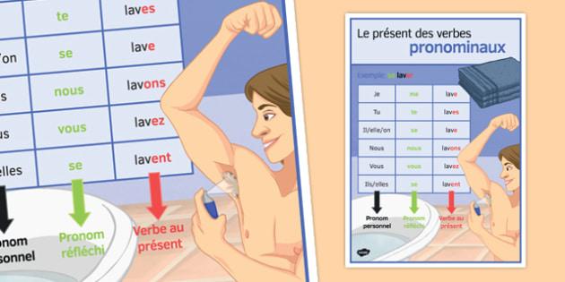 Le présent des verbes pronominaux Poster - french, present tense, reflexive verbs, classroom, display poster