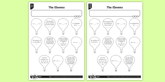 11 Times Table Activity Sheets - Y4 Multiplication and Division Planit Maths, multiply, groups of, lots of, product, times, sets of,