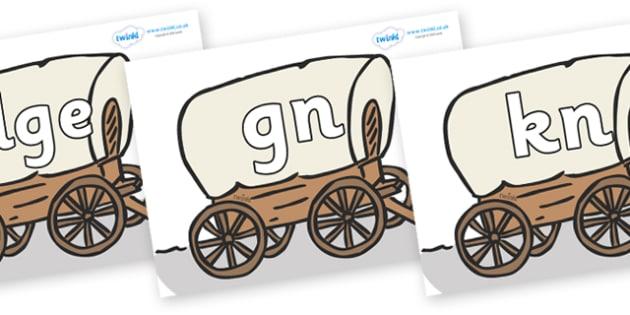 Silent Letters on Wagons - Silent Letters, silent letter, letter blend, consonant, consonants, digraph, trigraph, A-Z letters, literacy, alphabet, letters, alternative sounds