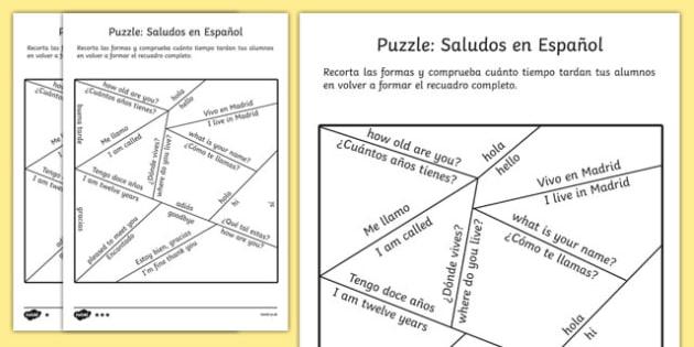 Puzzle de saludos en inglés - idiomas, presentarme, presentaciones, introducion, introducir, hacer amigos, iniciar conversacion, juego