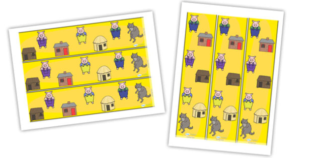 The Three Little Pigs Display Borders - Three little pigs, display border, classroom border, border, traditional tales, tale, fairy tale, pigs, wolf, straw house, wood house, brick house, huff and puff, chinny chin chin