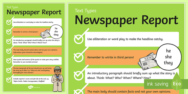 Ks2 Newspaper Templates & Reports Primary Resources - Page 1