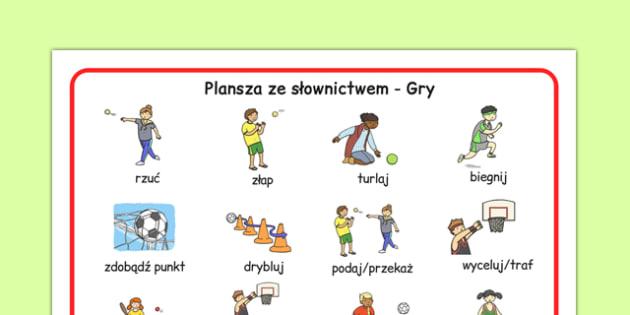 Plansza ze słownictwem Gry na wf po polsku - fizyczne