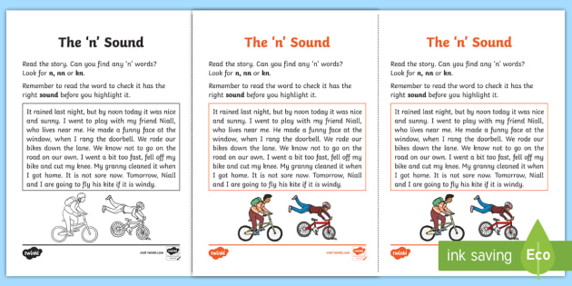 Northern Ireland Linguistic Phonics Stage 5 and 6 Phase 3a, 'n' Sound Activity Sheet - Linguistic Phonics, Phase 3a, Northern Ireland, 'n' sound, sound search, text, Worksheet