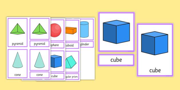 3D Shape Three Part Cards