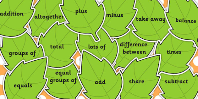 Maths Vocabulary on Green Leaves - leaves, maths, vocabulary, numeracy