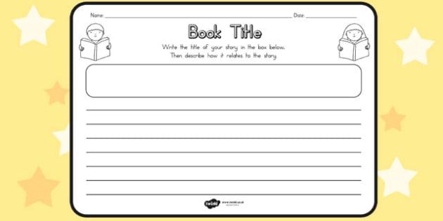 Book Title Comprehension Worksheet - books, worksheets, read