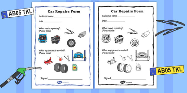 Mechanics/Garage Role Play Repairs Form - Mechanics/Garage Role Play Pack, garage,  repairs, form, mechanic, car, MOT, car parts, hydraulic lift, petrol, oil, role play, display, poster