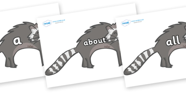 100 High Frequency Words on Raccoons - High frequency words, hfw, DfES Letters and Sounds, Letters and Sounds, display words