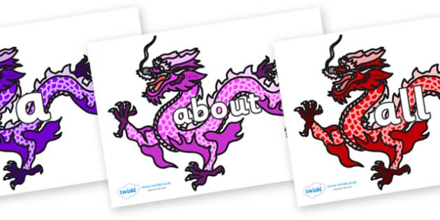 100 High Frequency Words on Chinese Dragons (Multicolour) - High frequency words, hfw, DfES Letters and Sounds, Letters and Sounds, display words