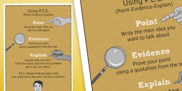 Using Point Evidence Explain Poster - point, evidence, explain, poster, display, classroom, ks3