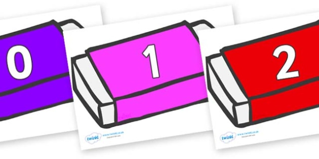Numbers 0-31 on Erasers - 0-31, foundation stage numeracy, Number recognition, Number flashcards, counting, number frieze, Display numbers, number posters