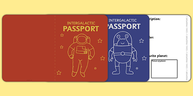 Space Passport Template  Passport Space Intergalactic