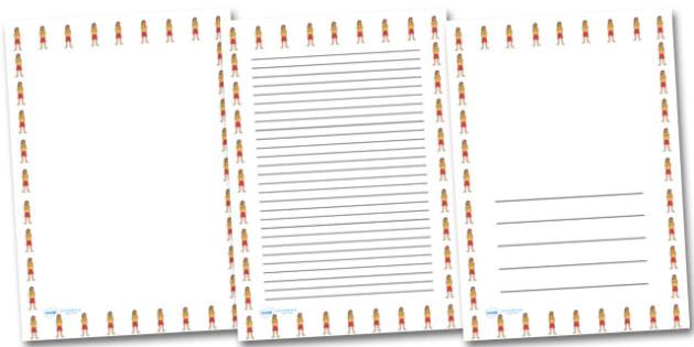Female Lifeguard Portrait Page Borders- Portrait Page Borders - Page border, border, writing template, writing aid, writing frame, a4 border, template, templates, landscape