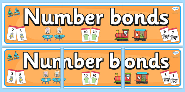 Number Bonds Banner - Number bonds, calculating, number bonds display, maths display,math, Numeracy, Maths, Maths signs, Foundation numeracy, Maths Vocabulary, problem solving, reasoning and numeracy