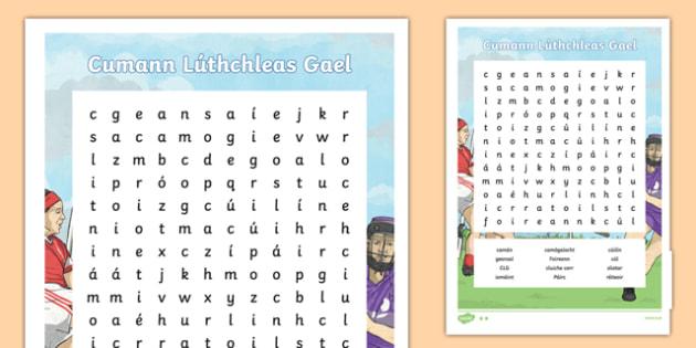 GAA Word Search Irish Gaeilge - gaa, history, ireland, word search, irish, gaeilge