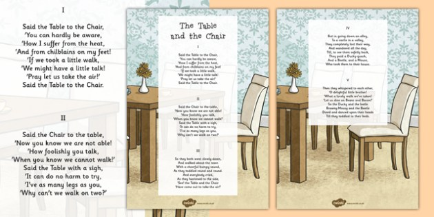 The Table and the Chair Edward Lear Poem Print Out - Edward Lear, poem, poetry, literature, key stage 2, English