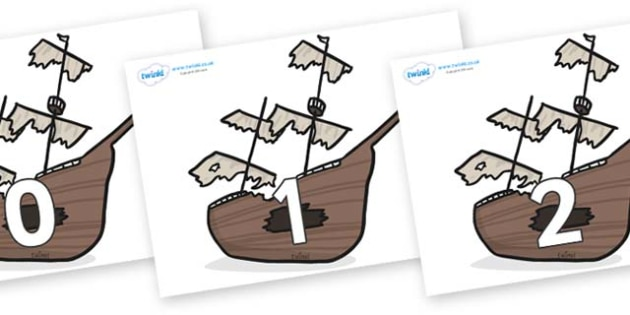 Numbers 0-31 on Shipwrecks - 0-31, foundation stage numeracy, Number recognition, Number flashcards, counting, number frieze, Display numbers, number posters