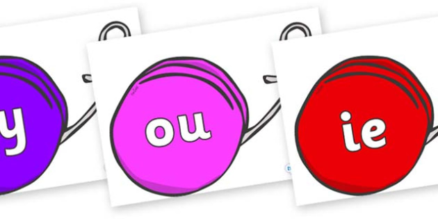 Phase 5 Phonemes on Yo Yos - Phonemes, phoneme, Phase 5, Phase five, Foundation, Literacy, Letters and Sounds, DfES, display