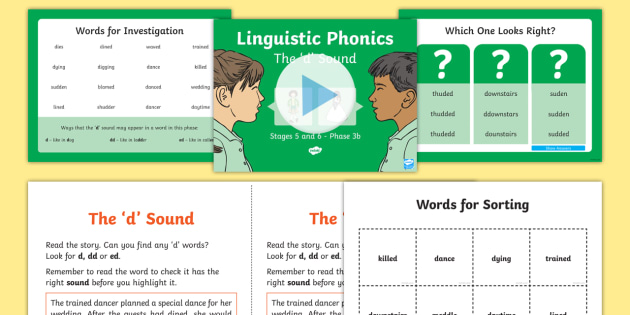 Northern Ireland Linguistic Phonics Stage 5 and 6 Phase 3b, 'd' Sound PowerPoint  - NI, sound search, word sort, investigation