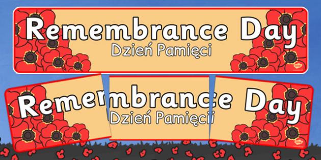 Remembrance Day Banner Polish Translation - polish,  polish, world, war, one, first, remembrance day, poppies