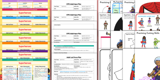 EYFS Superheroes Lesson Plan Enhancement Ideas and Resources Pack - planning