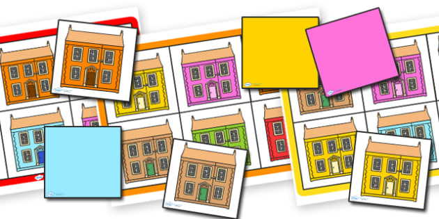 Houses and Homes Colour Bingo Houses - houses and homes, houses, homes, colours, bingo, houses bingo, colour bingo, bingo games, classroom games, games