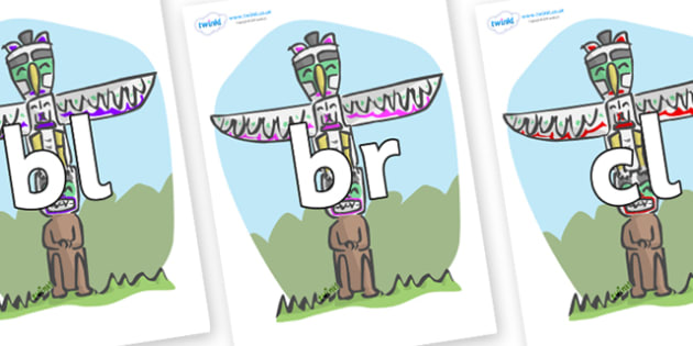 Initial Letter Blends on Totem Poles - Initial Letters, initial letter, letter blend, letter blends, consonant, consonants, digraph, trigraph, literacy, alphabet, letters, foundation stage literacy