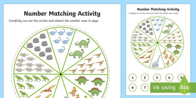 Number Matching Pegs Activity Dinosaur Themed - dinosaur, match, pegs