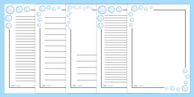 Bubble Page Borders - Water, Page border, border,  KS1, writing Borders, bubbles, drop, droplet, water play, water, water display, splash, drop, drip, wet, float, sink