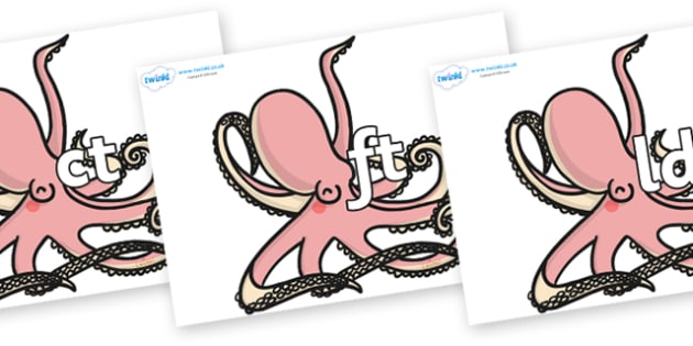 Final Letter Blends on Octopuses - Final Letters, final letter, letter blend, letter blends, consonant, consonants, digraph, trigraph, literacy, alphabet, letters, foundation stage literacy