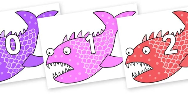 Numbers 0-50 on Fish to Support Teaching on Sharing a Shell - 0-50, foundation stage numeracy, Number recognition, Number flashcards, counting, number frieze, Display numbers, number posters