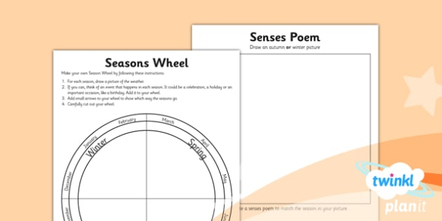 Science: Seasonal Changes (Autumn and Winter) Year 1 Unit Home Learning Tasks