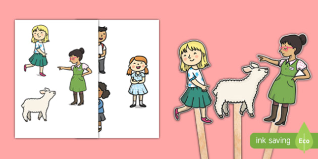 Mary Had a Little Lamb Stick Puppets - mary had a little lamb, nursery rhyme, stick puppets