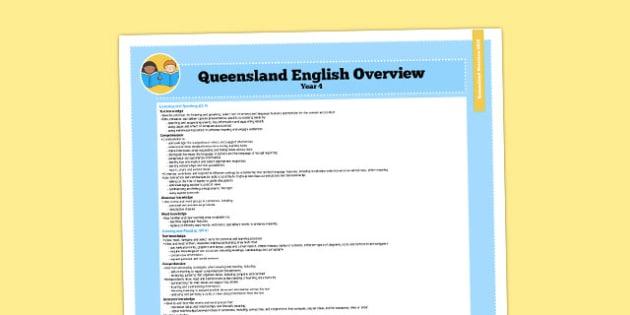 Queensland Curriculum Year 4 English Literacy Syllabus Overview - australia