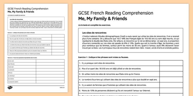 Les Sites de Rencontres Reading Comprehension Activity Sheet, worksheet
