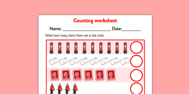 My Counting Worksheet (Post Office) - counting sheet, role play, roleplay, role-play, post office role play, post office counting, counting sheet for post office, numeracy, maths, counting on, counting back, addition, money, money counting