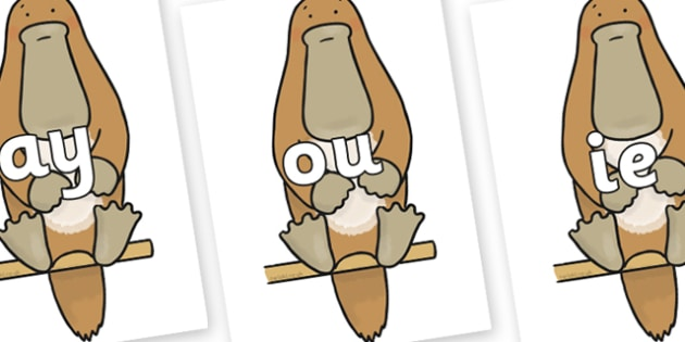 Phase 5 Phonemes on Platypus to Support Teaching on The Great Pet Sale - Phonemes, phoneme, Phase 5, Phase five, Foundation, Literacy, Letters and Sounds, DfES, display