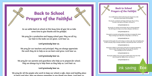 Back to School Prayers of the Faithful Print-Out