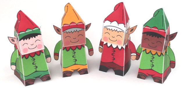 Christmas Paper Model Elfs - Christmas, elves, paper model