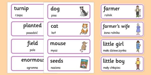 The Enormous Turnip Word Cards Polish Translation - polish, enormous turnip, word cards, story book