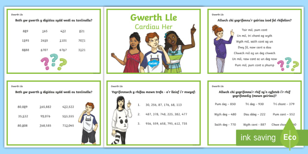 Gwerth Lle Cardiau Her Gwahaniaethol - cardiau her, gwerth lle, gwahaniaethol, mathemateg, Cymraeg, Iaith, gweithgareddau,Welsh