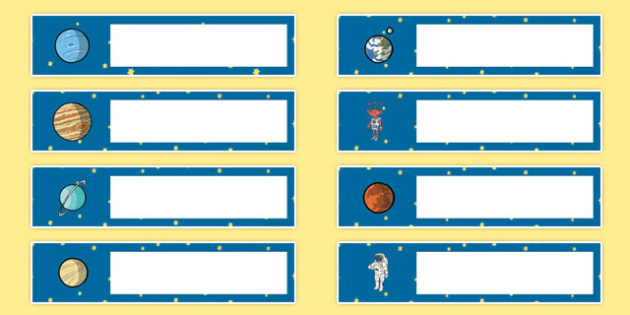 Space Themed Editable Gratnells Tray Labels - label, edit, trays