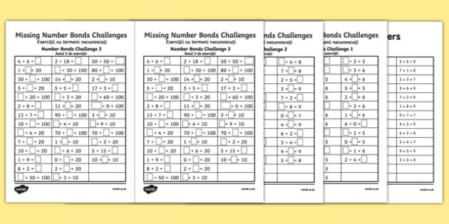 Missing Number Bonds Challenges Activity Sheets Romanian Translation - romanian, missing number, number bonds, challenges, activity sheet, worksheet