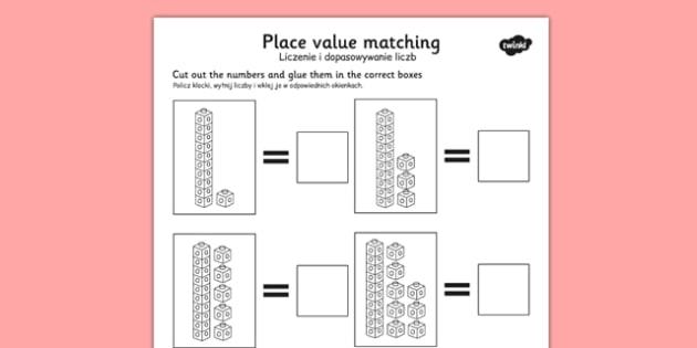 Place Value Tens and Units Cut and Stick Worksheet Polish Translation - polish, place value
